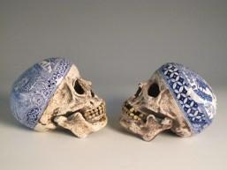 "Stephen Bowers, ""Explorers' Skulls"" 2010, ceramic, underglaze, stains, 5.25""."