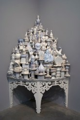 """Walter McConnell, """"A Theory of Everything: White Corner"""" 2011-13, porcelain, glaze, plywood, 77 x 39 x 39""""."""