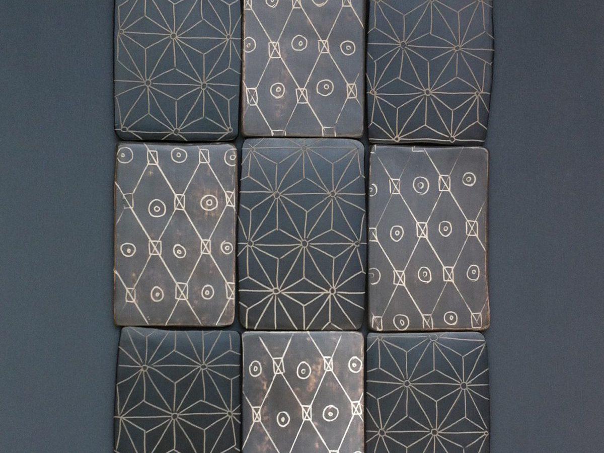 Tableau motifs ASANOHA - Carreaux polis, gravés, sigillés, enfumés (36*30cm) (2015)