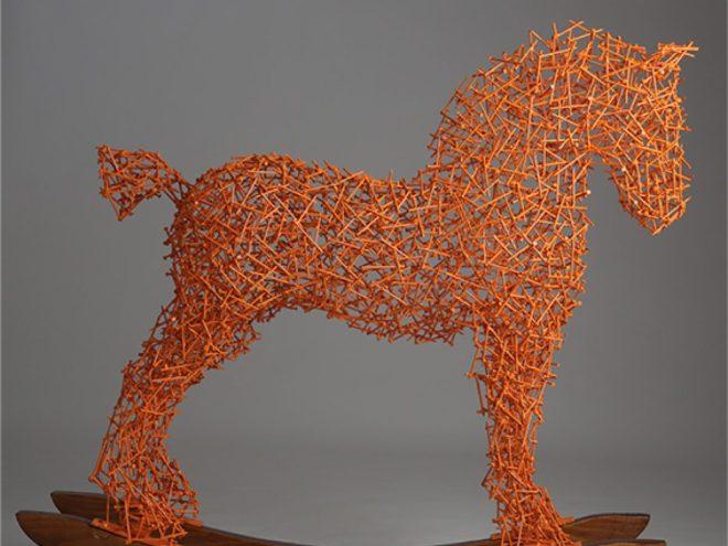 Sculpture en clous soudés et laqués, H 95 cm-2016