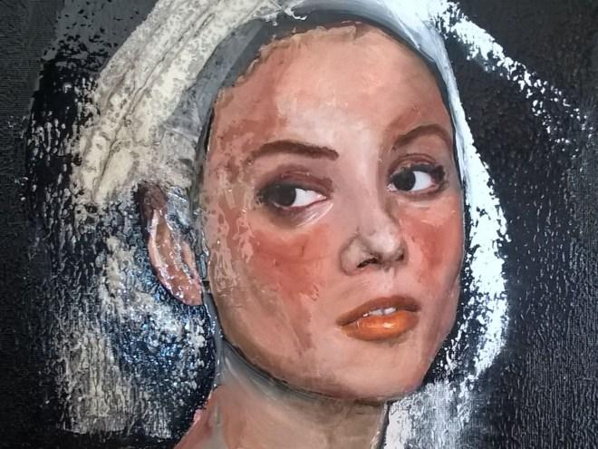 """NUMÉRO 5 """"série Camisole"""" - Technique mixte, dessin, collage, huile (33x27cm) 2017"""
