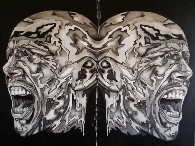 DÉCHIREMENT (jumeaux) - Encre sur châssis (100*100cm) (2015)