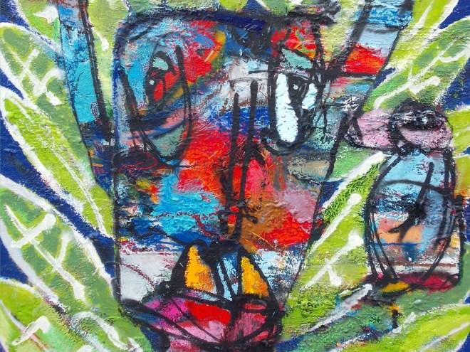 Leberloa-1-Soleil Vert-techniques mixtes sur toile-146x94-2017