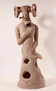 BREBIS 15 robe à trou - cloche émaillée - Grès (34x13x13cm) 2018