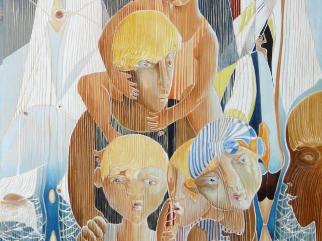 ALORS on REGARDAIT les BATEAUX -Acrylique sur lambris (80x60cm) 2017
