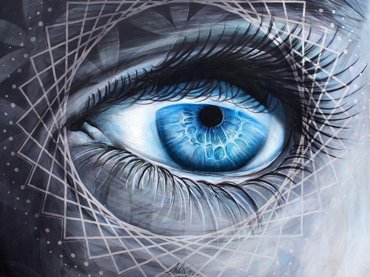 ŒIL COSMIC - Peinture acrylique (80x80cm)  2019