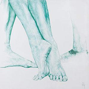 Pieds 4 ''des MAINS et des ÉMOTIONS'' Stylo (70x70cm) 2017