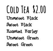 Cold Tea Menu