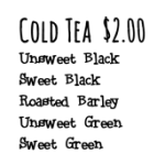 Cold Tea Menu