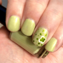@jetpack31's St. Paddy's Day Mani with the Awesome Avocado creme + gold shimmer she made