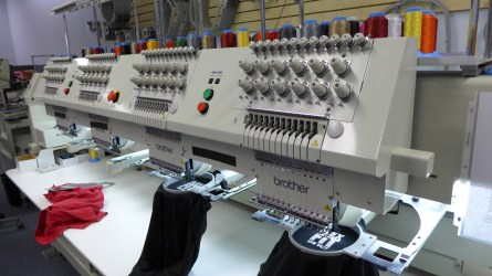 They can embroider four jobs at a time!