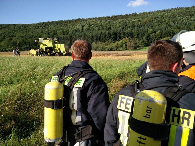 Bad Bockleter Atemschutzgeräteträger in Bereitstellung am Einsatzort.
