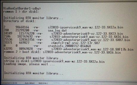 Hier sieht man die entscheidende Sequenz zum Booten des Switch. dir disk1: und boot disk1: