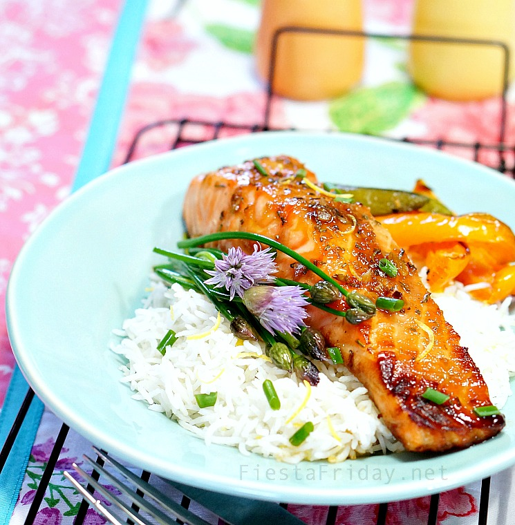 Broiled Salmon with Rosemary and Lemon Zest-Infused Honey Soy Sauce Glaze