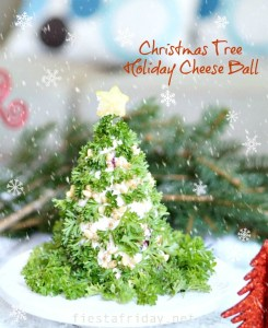 christmas tree holiday cheese ball