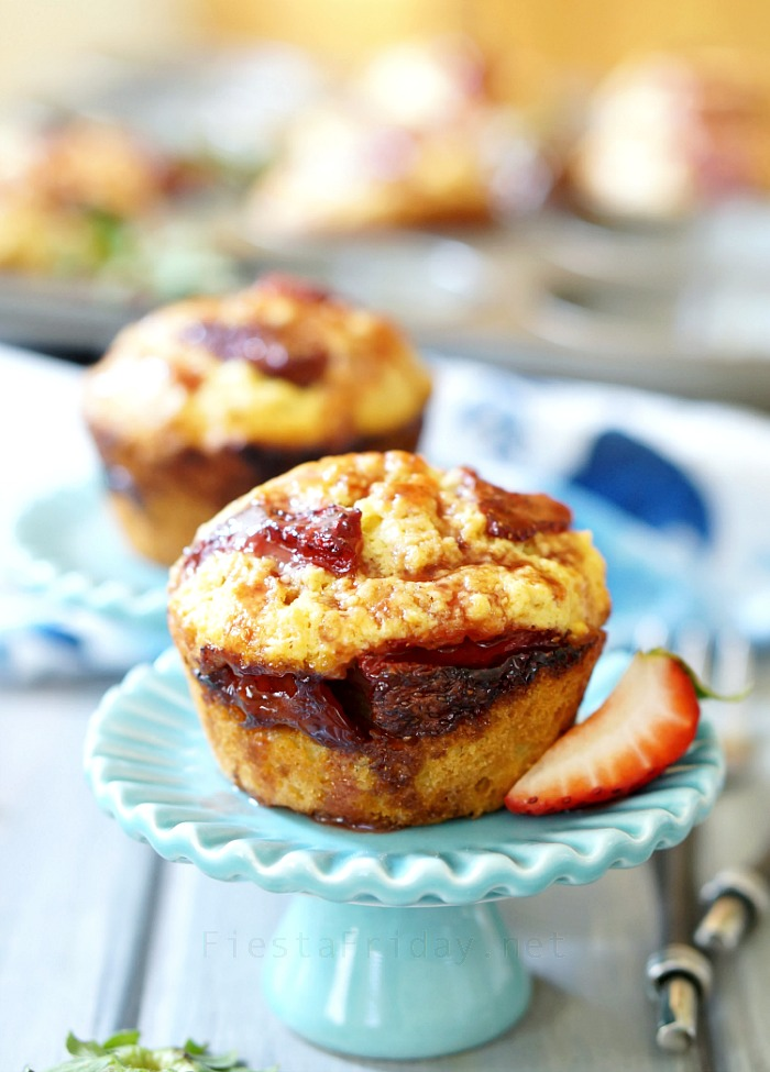 Roasted Strawberry Coconut Corn Muffins