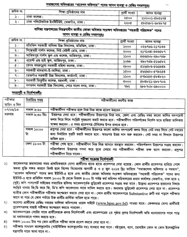 Probation, Social Services Officer, AD of National Consumer's MCQ Exam Seat Plan