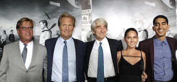 """Sorkin, creator and executive producer, and actors Daniels, Waterston, Munn and Patel arrive for the season 2 premiere of their HBO drama series """"The Newsroom"""" in Hollywood"""