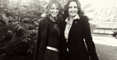 Melissa Benoist Lynda Carter Supergirl BTS Photo