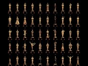 "OSCARS BEST PICTURE POSTER This year, Oscar is definitely dressed for the occasion. . . . All eighty five of them. English artist Olly Moss has created a poster depicting all the previous winners of the Academy Awards Best Picture category - each styled as individual Oscar statuettes in distinct poses connected to the respective winning films.       Moss' commemorative poster was officially commissioned by  Gallery1988 for the upcoming 85th Academy Awards (Feb 24). Last year's winner The Artist is suitably dressed in black and white, whilst in traditional Arab costume for Peter O'Toole's Lawrence of Arabia (1962) and as the Artful Dodger for Oliver! (1968). The famous Leonardo DiCaprio Kate Winslet Titanic pose is reprised for 1997s record breaking winner, Slumdog Millionaire (2008) is accompanied by the familiar Who Wants To Be A Millionaire multiple choice screen layout  and . . . you get the picture!   The Oscars statuette is, in fact, a knight standing atop a film reel clasping a quintet of spokes each representing five original branches of the Academy: Actors, Writers, Directors, Producers and Technicians. The coveted gold-plated britannium gong - officially named the Academy Award of Merit - was itself designed by Cedric Gibbons in 1928 and sculpted by George Stanley from the nude pose of Mexican actor Emilio ""El Indio"" Fernández.  USA - 13.02.13  This is a PR photo. WENN does not claim any Copyright or License in the attached material. Fees charged by WENN are for WENN's services only, and do not, nor are they intended to, convey to the user any ownership of Copyright or License in the material. By publishing this material, the user expressly agrees to indemnify and to hold WENN harmless from any claims, demands, or causes of action arising out of or connected in any way with user's publication of the material.  Supplied by WENN.com"