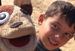 Rocko and friend at Zahle refugee camp, Lebanon