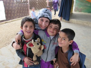 Syrian Students and teacher at a refugee school in the Akkar district of Lebanon