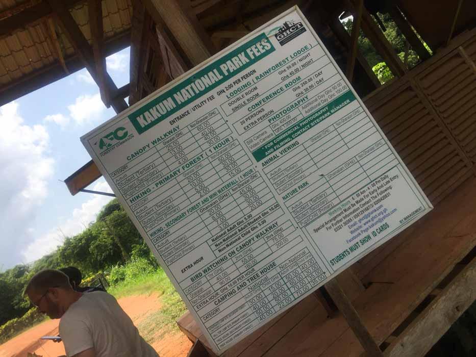 Kakum National Park Price List
