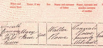 Birth of Mary Rowe 1879