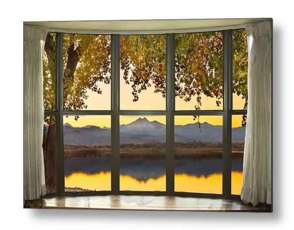 Rocky Mountain Golden Reflections Bay Window View Metal Print