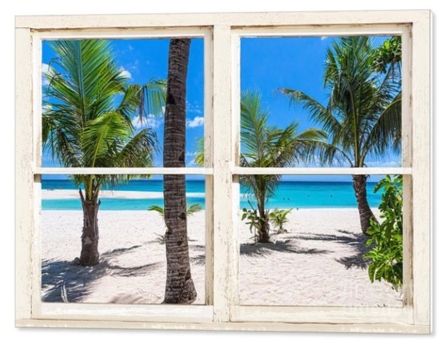 Tropical Island Rustic Window View Canvas Print