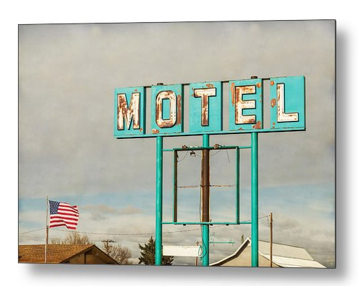 American Retro Motel Sign Metal Print