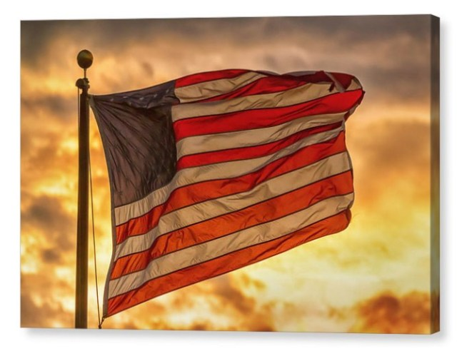 American Sunset On Fire Canvas Print