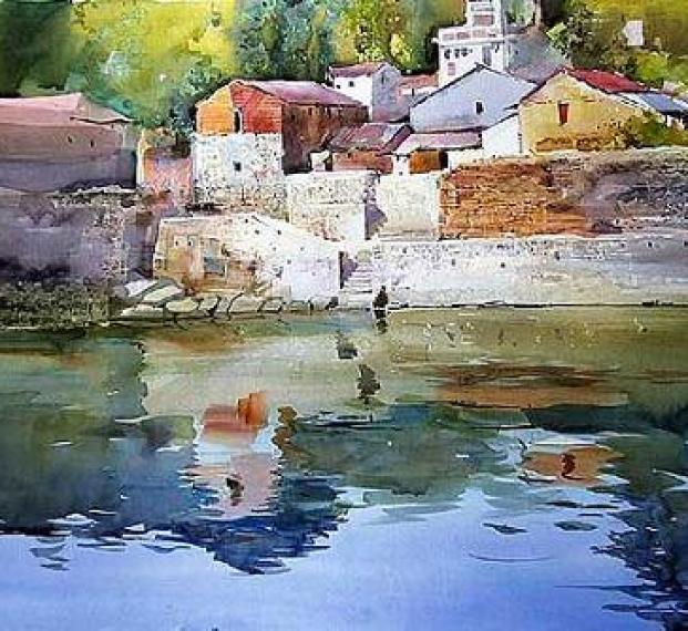 river-painting-india