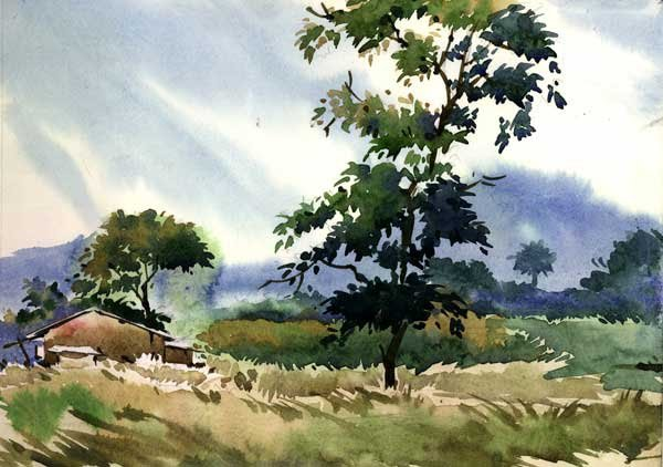 Indian watercolor paintings fine art blogger for Watercolor painting images