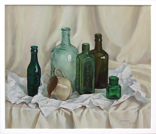 Oil paintings of glass bottles by zoe feng fine art blogger for How to color wine bottles