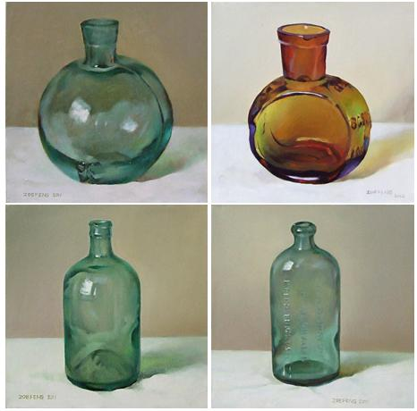 Oil paintings of glass bottles by zoe feng fine art blogger for How to paint glass with oil paint