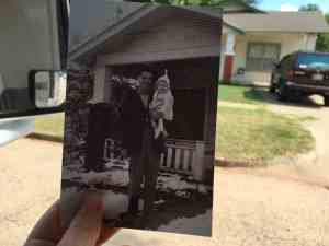 Walter Corn and infant daughter Judy, house then and now