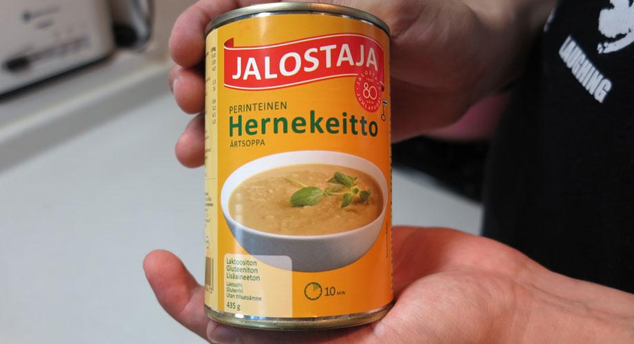 フィンランド人がこよなく愛する豆のスープ(缶)のパッケージ表面。木曜の食事の恒例。