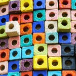 Colorful ceramic cube texture and background