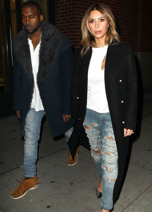 kim-kardashian-kanye-west-matching-clothes-jeans-ripped-coat-fashion-style-news-gossip-celebrity-denim