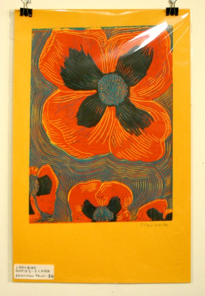 Ladybird Poppies, three layer reduction print.
