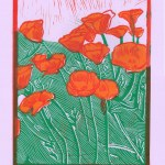 Old Dreams Waiting To Be Realized//California Poppies. Three color relief print. 2014.