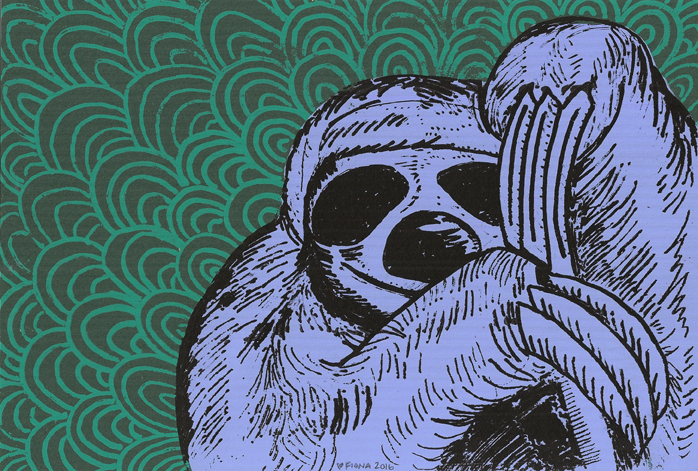 Sloth, Three Color Screenprint, 2016
