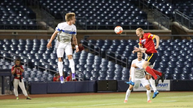 Arizona United defender Julian Ringhof, left, heads the ball for his first goal of the season Saturday, May 21, 2016 vs. Colorado Springs Switchbacks FC at the Peoria Sports Complex in Peoria. Photo credit: Michael Rincon