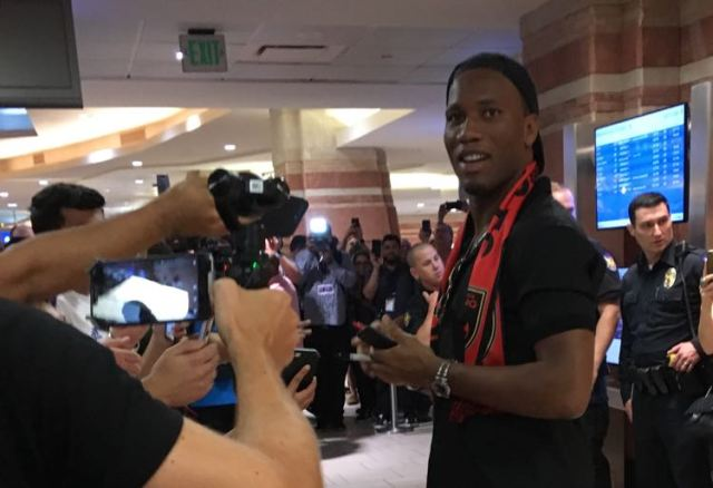Didier Drogba arrives Friday at Phoenix Sky Harbor International Airport in Phoenix. Photo by Maria Luisa Gay