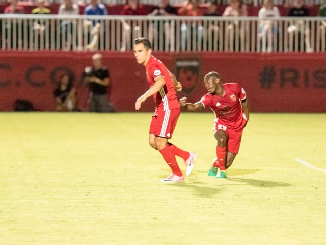 Phoenix Rising's  Omar Bravo, left, and Shaun Wright Phillips are seen against Whitecaps FC on June 10, 2017 atthe Phoenix Rising Soccer Complex in Scottsdale. Photo by Aaron Blau/Firebird Rising