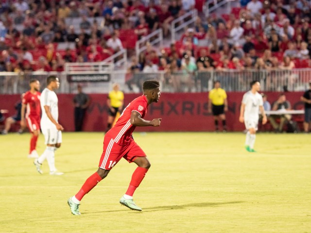 Phoenix Rising FC forward Jason Johnson runs up the field during a match against Whitecaps 2 FC on June 10, 2017 at the Phoenix Rising Soccer Complex in Scottsdale, Ariz. Photo by Aaron Blau/Firebird Rising