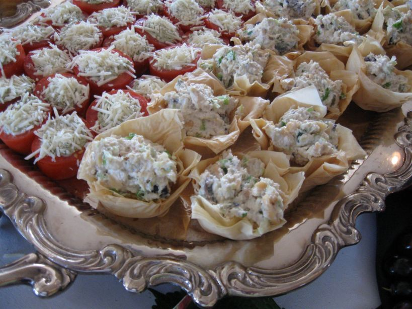 Chicken Salad Phyllo Cups/Parmesan Spinach Roma Tomatoes