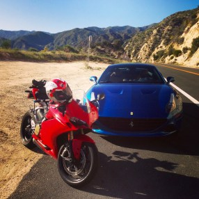 Test driving the new Ferrari California T on Angeles Crest Highway in Los Angles. Ducati 1299 Panigale belongs to my photographer Taylor King.