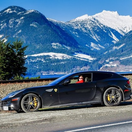 Jason in a Ferrari FF at Britannia Beach on the Sea to Sky Highway. January 2016